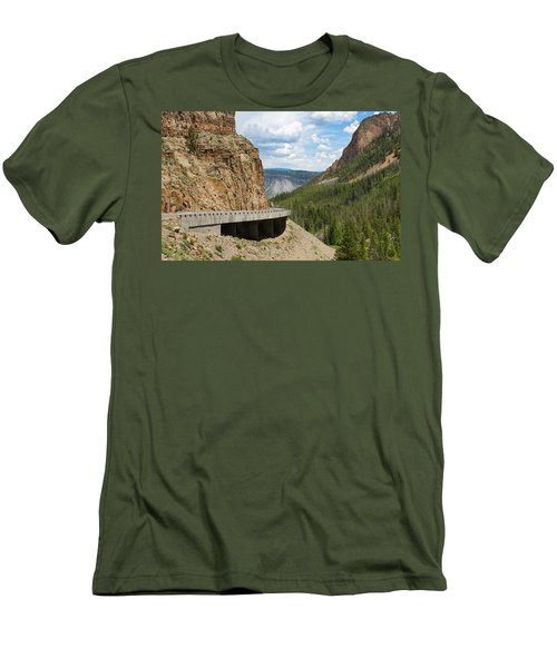 Men's T-Shirt (Athletic Fit) featuring the photograph Yellowstone Drive by John M Bailey