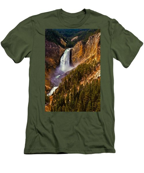Yellowstone Falls Men's T-Shirt (Slim Fit) by Harry Spitz