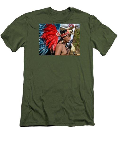 Young Aztec Portrait Men's T-Shirt (Slim Fit) by Lew Davis