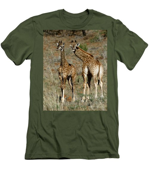 Men's T-Shirt (Slim Fit) featuring the photograph Young Giraffes by Myrna Bradshaw