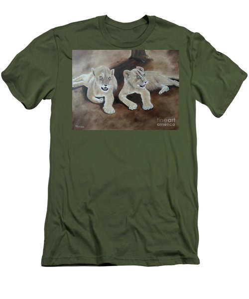 Young Lions Men's T-Shirt (Slim Fit) by Bev Conover