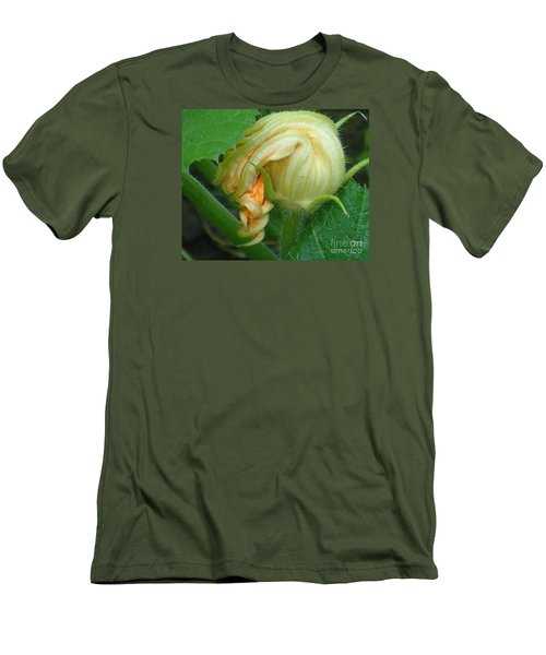 Men's T-Shirt (Slim Fit) featuring the photograph Young Pumpkin Blossom by Christina Verdgeline