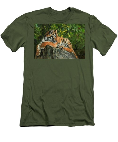 Men's T-Shirt (Slim Fit) featuring the painting Young Tiger Resting On Rock by David Stribbling