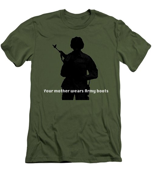 Your Mother Wears Army Boots Men's T-Shirt (Slim Fit) by Melany Sarafis