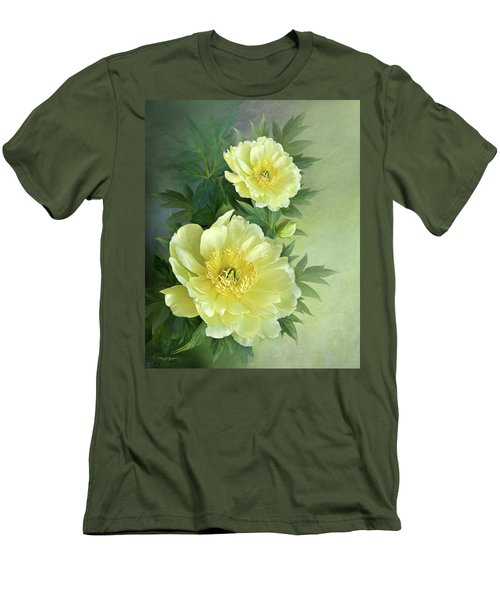 Men's T-Shirt (Slim Fit) featuring the digital art Yumi Itoh Peony by Thanh Thuy Nguyen
