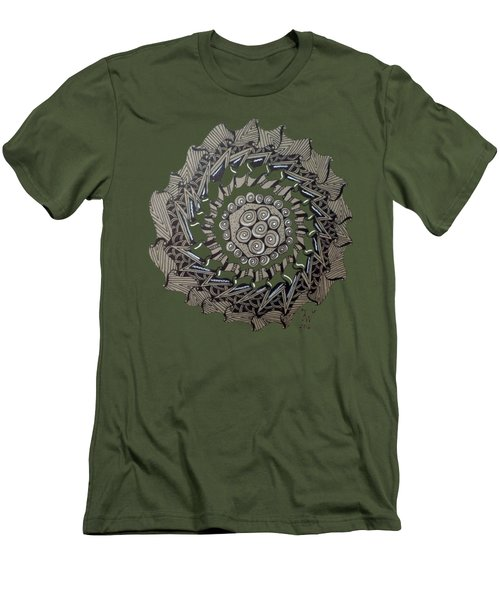 Zentangle Shield  Men's T-Shirt (Slim Fit) by Joyce Wasser
