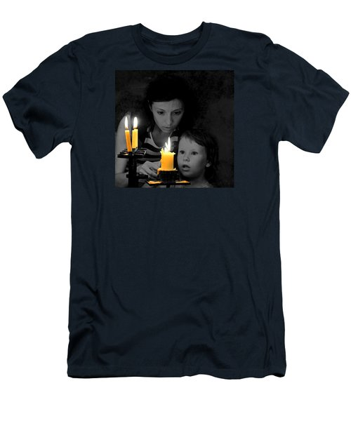Men's T-Shirt (Slim Fit) featuring the photograph .  .  Light For Peace  .  . by I'ina Van Lawick