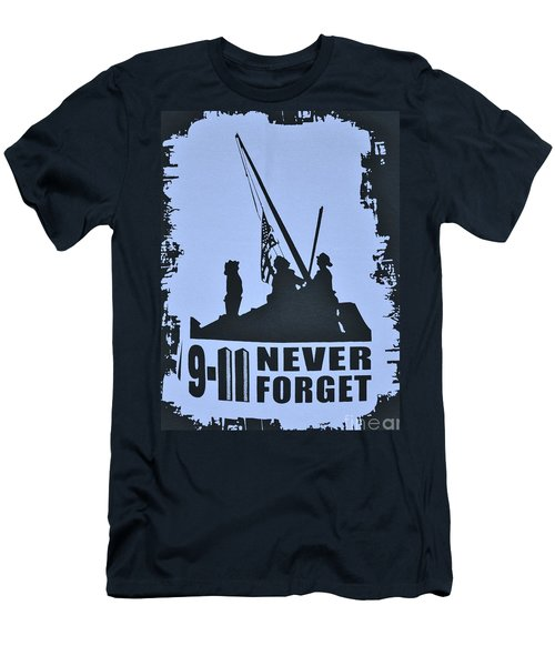Men's T-Shirt (Slim Fit) featuring the photograph  911 Poster In Black And White by Bob Sample