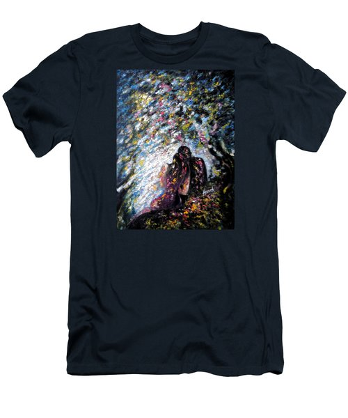 Men's T-Shirt (Slim Fit) featuring the painting  Love In Niagara Fall by Harsh Malik