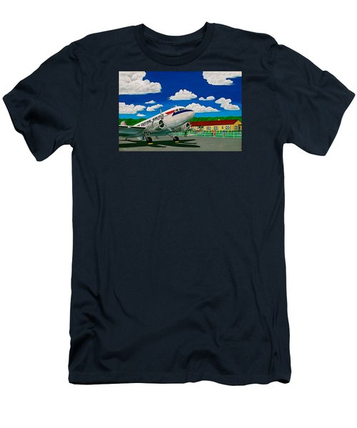 Portsmouth Ohio Airport And Lake Central Airlines Men's T-Shirt (Slim Fit) by Frank Hunter