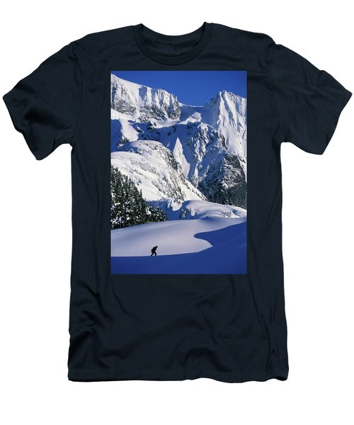 A Female Snowboarder Hiking Men's T-Shirt (Athletic Fit)