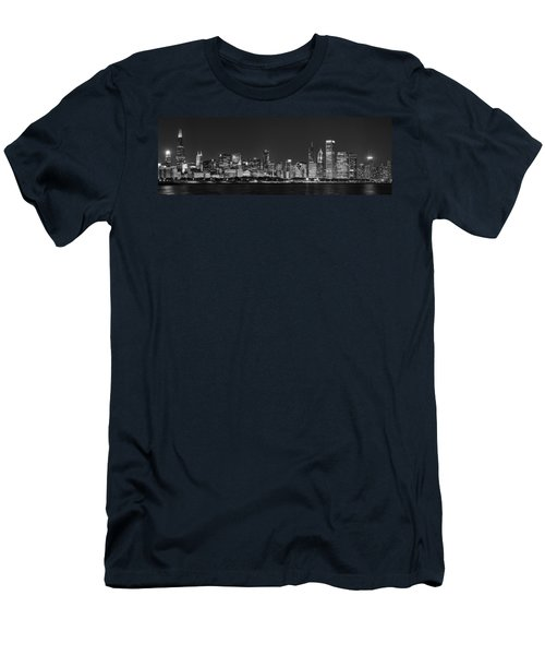 Chicago Skyline At Night Black And White Panoramic Men's T-Shirt (Slim Fit) by Adam Romanowicz