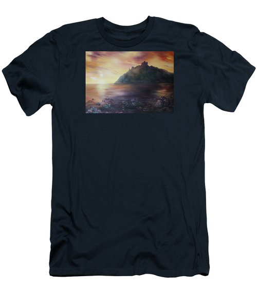 Men's T-Shirt (Slim Fit) featuring the painting Criccieth Castle North Wales by Jean Walker