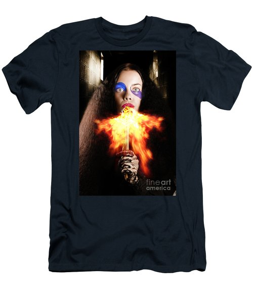 Medieval Jester Breathing Fire During Carnival Act Men's T-Shirt (Athletic Fit)