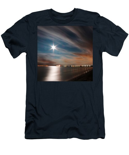 Moon Rise Over Anna Maria Island Historic City Pier Men's T-Shirt (Athletic Fit)