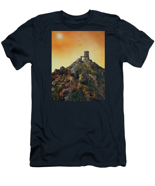 Men's T-Shirt (Slim Fit) featuring the painting Mow Cop Castle Staffordshire by Jean Walker