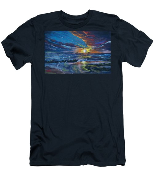 Men's T-Shirt (Slim Fit) featuring the pastel Never Ending Sea by Peter Suhocke