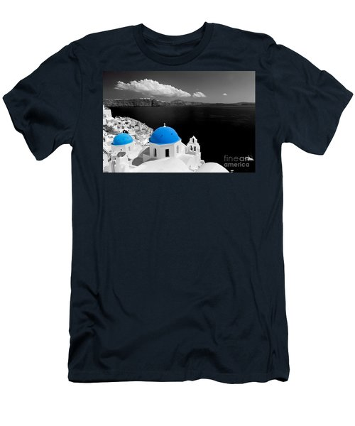 Oia Town On Santorini Island Greece Blue Dome Church Black And White. Men's T-Shirt (Athletic Fit)