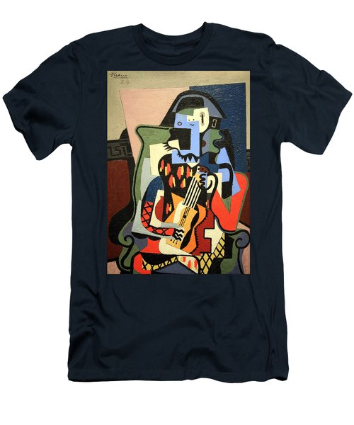 Picasso's Harlequin Musician Men's T-Shirt (Athletic Fit)
