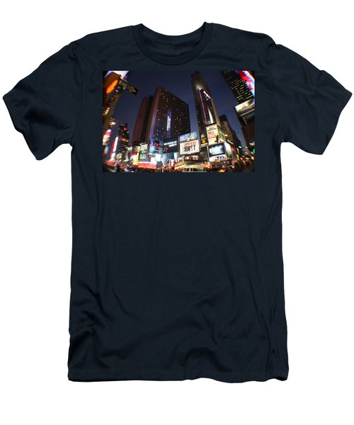 Times Square Nyc Men's T-Shirt (Slim Fit) by Rogerio Mariani
