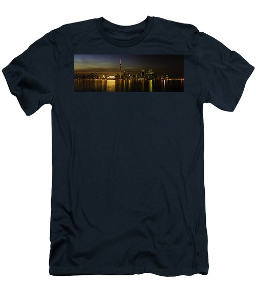 Toronto Evening Sky Line Panorama Men's T-Shirt (Slim Fit) by Peter v Quenter