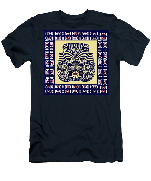 Men's T-Shirt (Slim Fit) featuring the digital art Marquesas Tribal Spirits by Vagabond Folk Art - Virginia Vivier