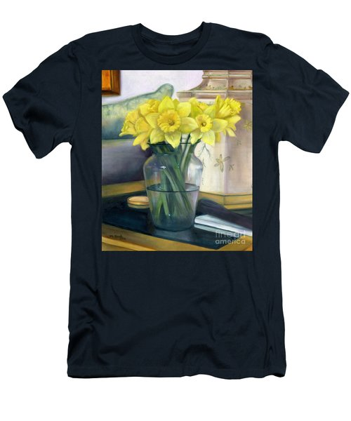 Yellow Daffodils Men's T-Shirt (Slim Fit) by Marlene Book