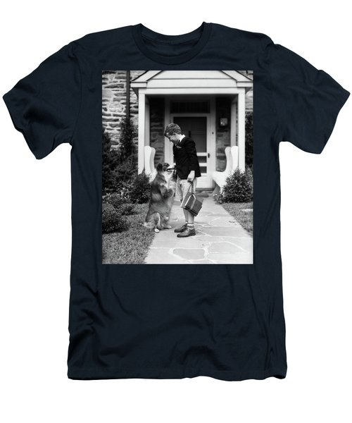 1930s Boy On Sidewalk Leaving Men's T-Shirt (Athletic Fit)