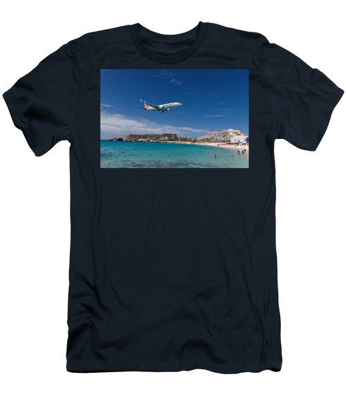 American Airlines At St Maarten Men's T-Shirt (Slim Fit) by David Gleeson