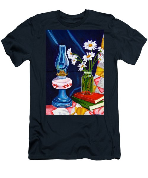 Men's T-Shirt (Slim Fit) featuring the painting 2 Books And A Lamp by Laura Forde