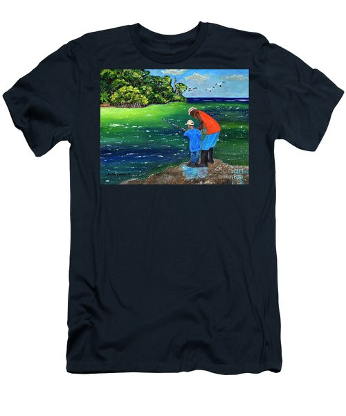 Men's T-Shirt (Slim Fit) featuring the painting Fishing Buddies by Laura Forde
