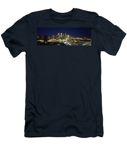Buildings Lit Up At Night In A City Men's T-Shirt (Athletic Fit)