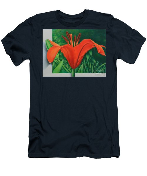Men's T-Shirt (Slim Fit) featuring the painting Orange Lily by Pamela Clements