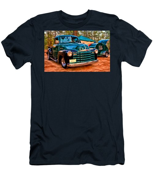 Men's T-Shirt (Slim Fit) featuring the painting '51 Chevy Pickup With Teardrop Trailer by Michael Pickett