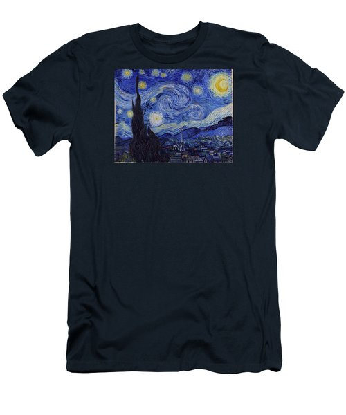 Starry Night Men's T-Shirt (Slim Fit) by Vincent Van Gogh