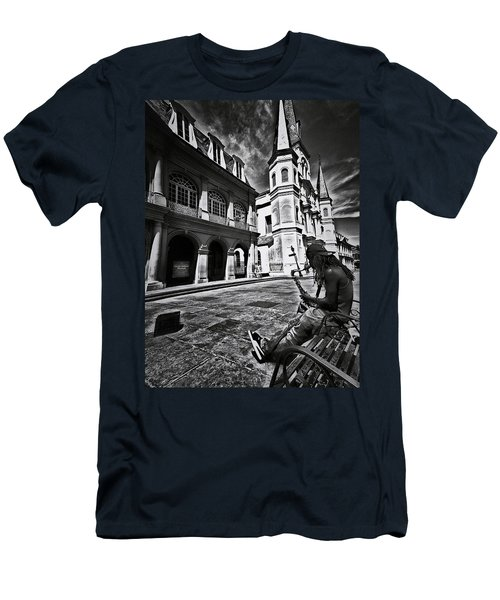 Men's T-Shirt (Slim Fit) featuring the photograph A Buck At A Time by Robert McCubbin