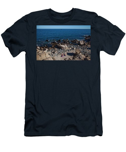 A Couple Enjoy An Empty, Rocky Beach Men's T-Shirt (Athletic Fit)