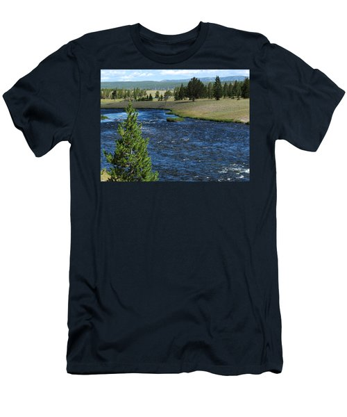 Men's T-Shirt (Slim Fit) featuring the photograph A River Runs Through Yellowstone by Laurel Powell