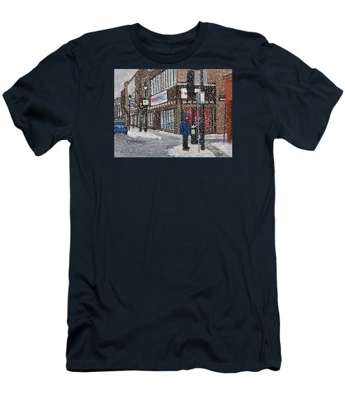 A Snowy Day On Wellington Men's T-Shirt (Slim Fit) by Reb Frost