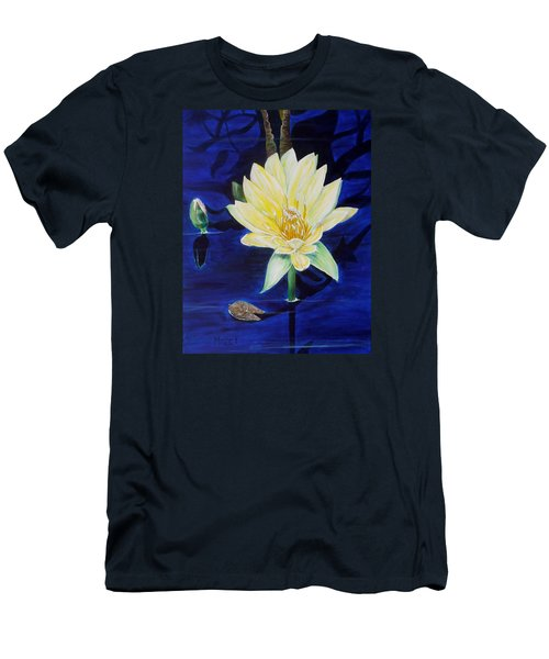 Men's T-Shirt (Slim Fit) featuring the painting A Waterlily by Marilyn  McNish