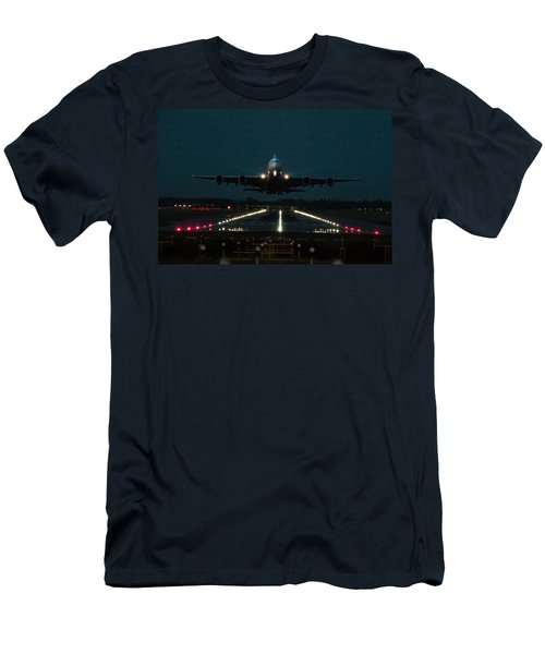 Airbus A380 Take-off At Dusk Men's T-Shirt (Slim Fit) by Tim Beach