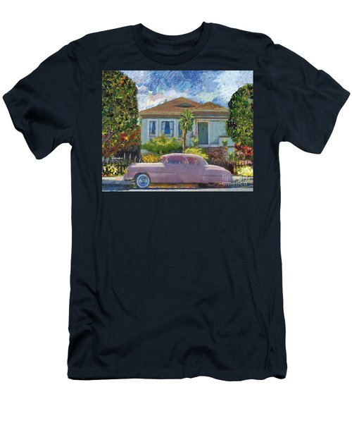 Alameda 1908 House 1950 Pink Dodge Men's T-Shirt (Slim Fit) by Linda Weinstock