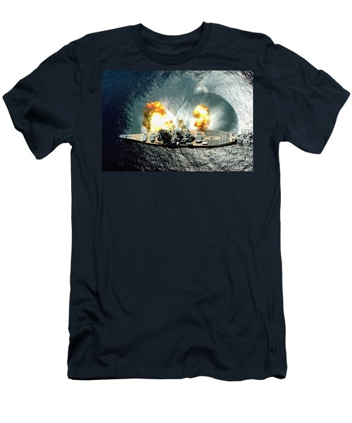 An Overhead View Of The Battleship Uss Iowa Bb61 Firing All 15 Of Its Guns Men's T-Shirt (Athletic Fit)