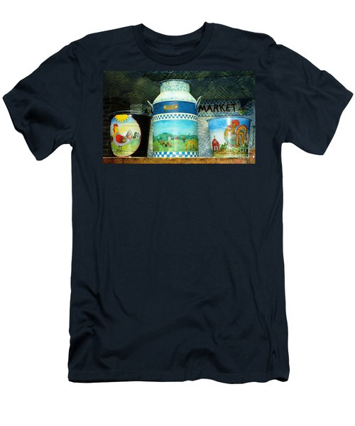 Men's T-Shirt (Slim Fit) featuring the photograph Antique Dairy Milk Can And Pails by Judy Palkimas