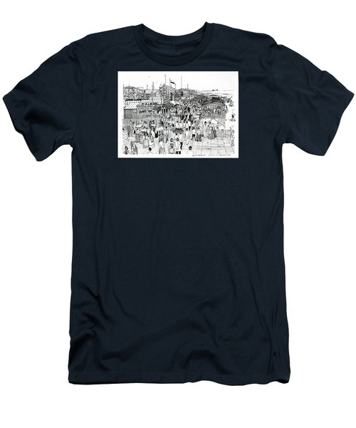 Men's T-Shirt (Slim Fit) featuring the drawing Atlantic City Boardwalk 1890 by Ira Shander