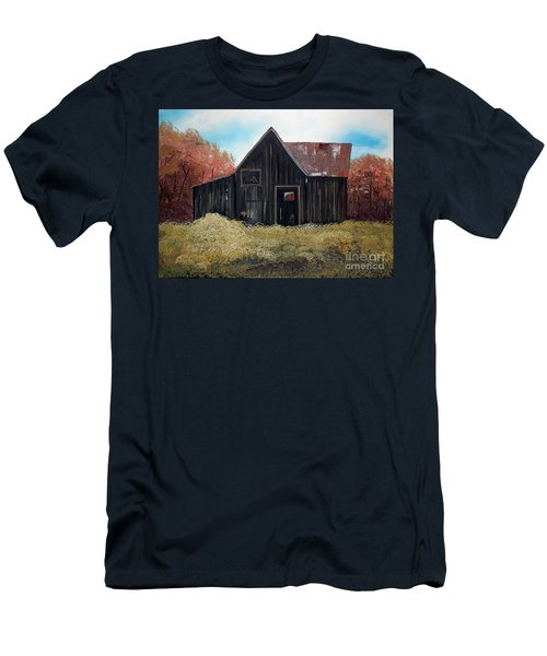 Autumn - Barn -orange Men's T-Shirt (Athletic Fit)