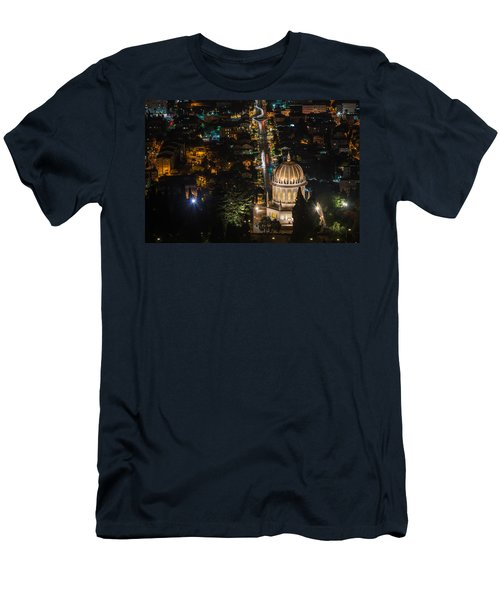 Baha'i Temple At Night Men's T-Shirt (Athletic Fit)