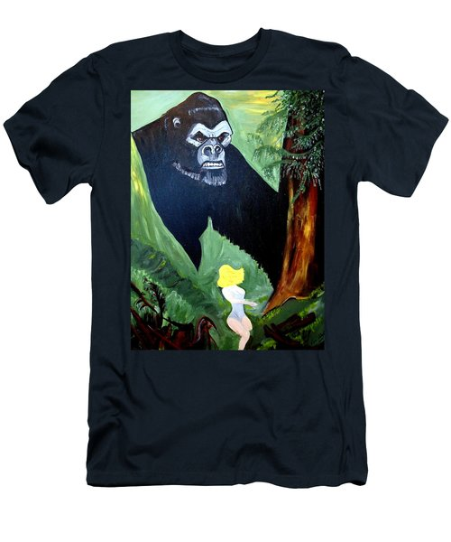 Men's T-Shirt (Slim Fit) featuring the painting Beauty And The Beast by Nora Shepley