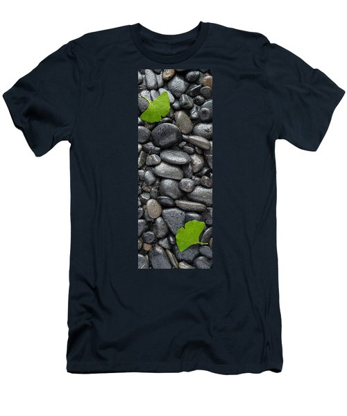 Black Stones And Ginko Leaves Vertical Panorama Men's T-Shirt (Athletic Fit)