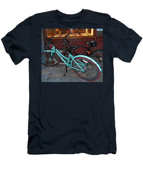 Men's T-Shirt (Slim Fit) featuring the photograph Blue Bianchi Bike by Joan Reese